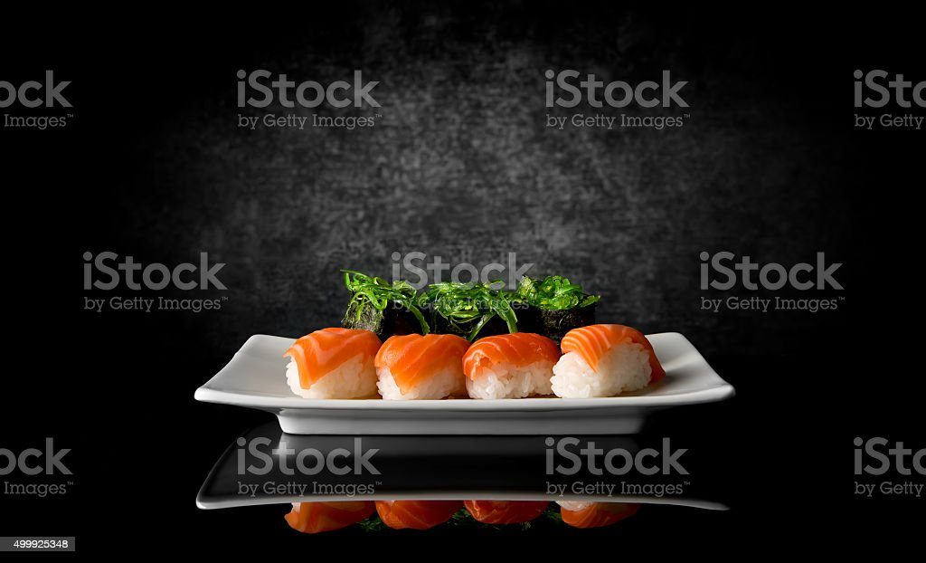 Sushi on black stock photo