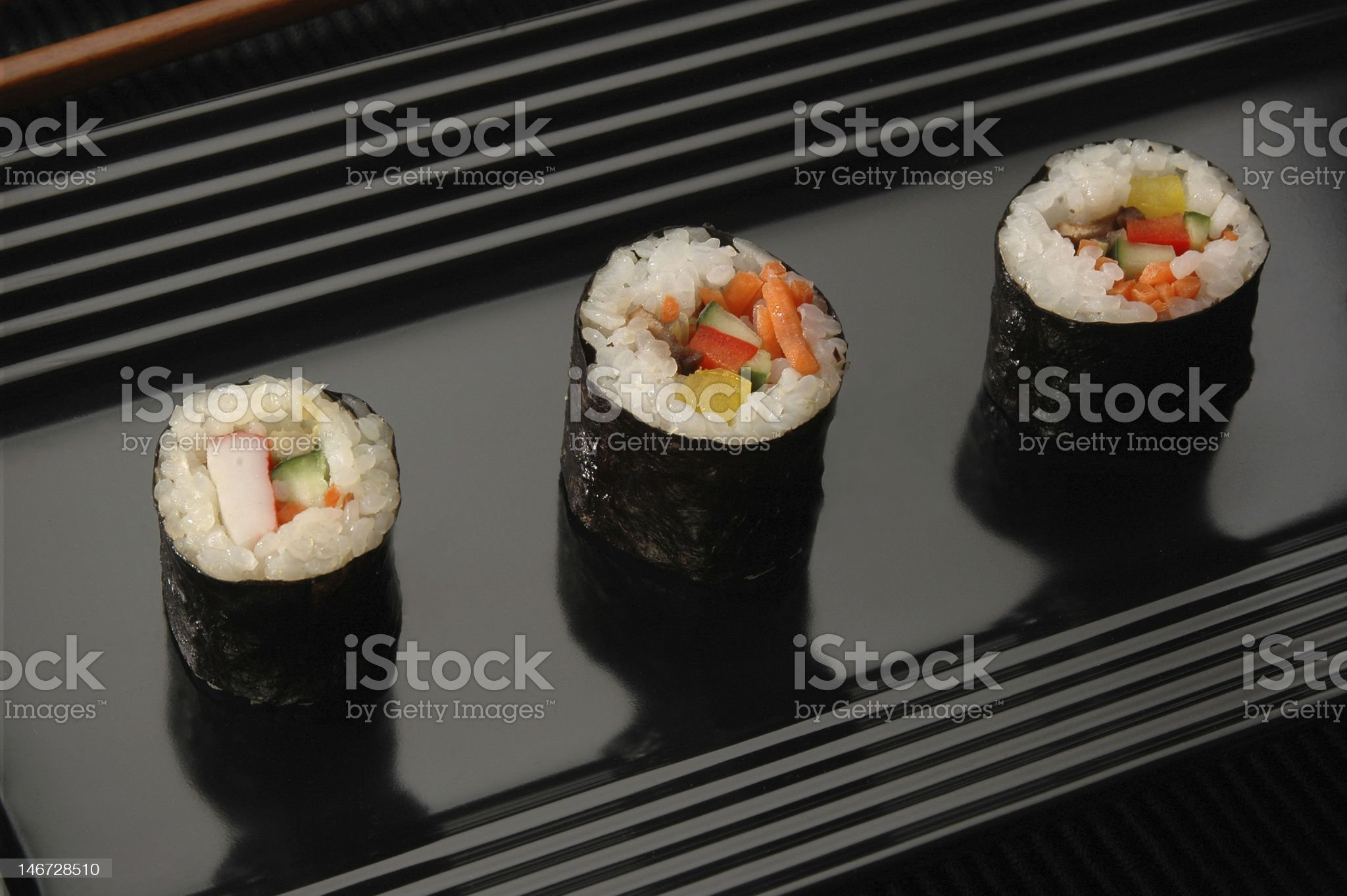 Sushi on Black Plate royalty-free stock photo