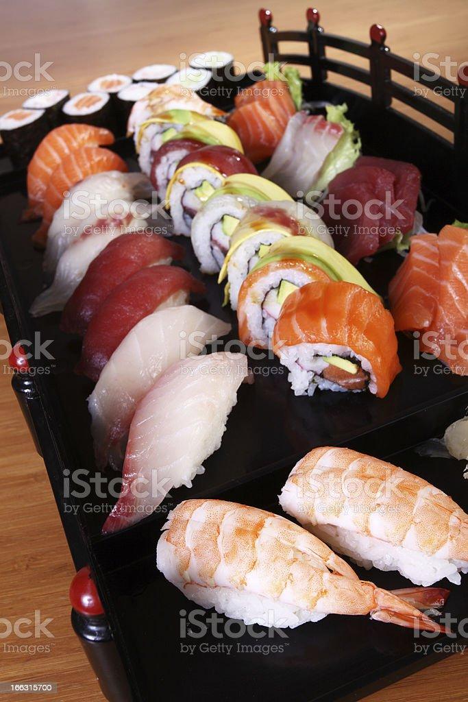 sushi on black tray royalty-free stock photo