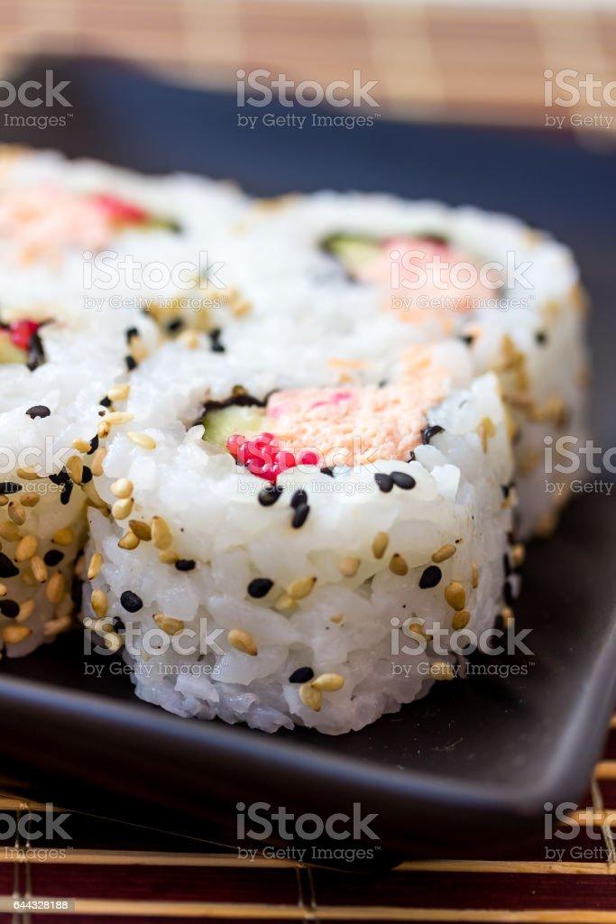 Sushi on plate closeup shot stock photo