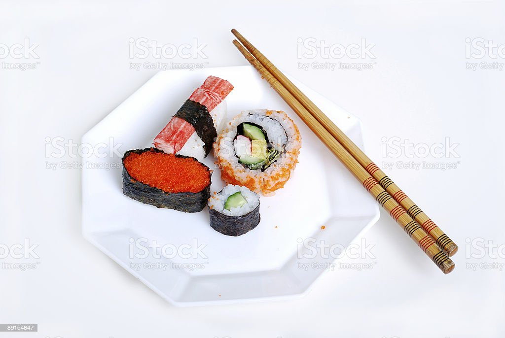 Sushi on plate royalty-free stock photo