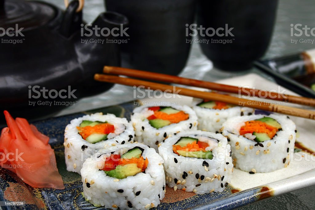 sushi on plate with green tea service royalty-free stock photo