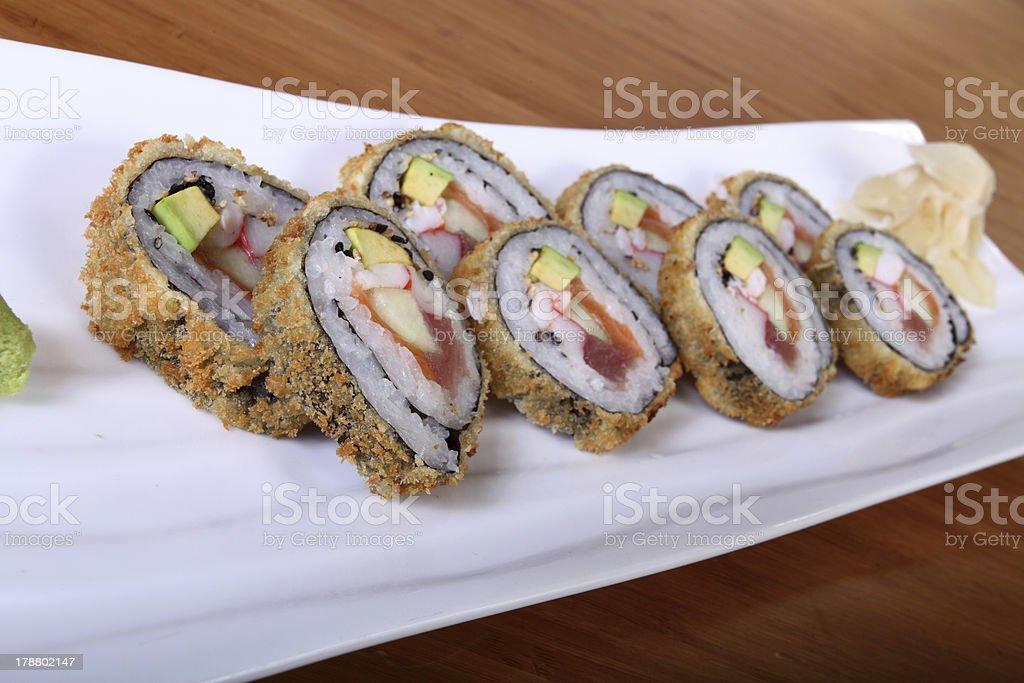 sushi on rectangular plate royalty-free stock photo