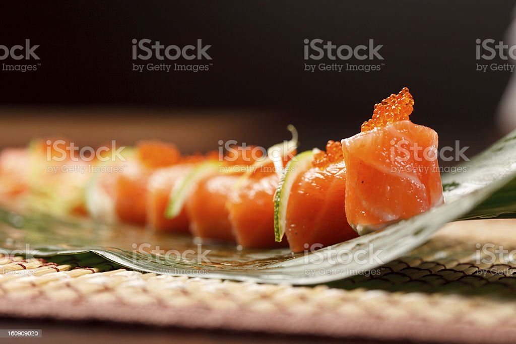 sushi on the leaf royalty-free stock photo