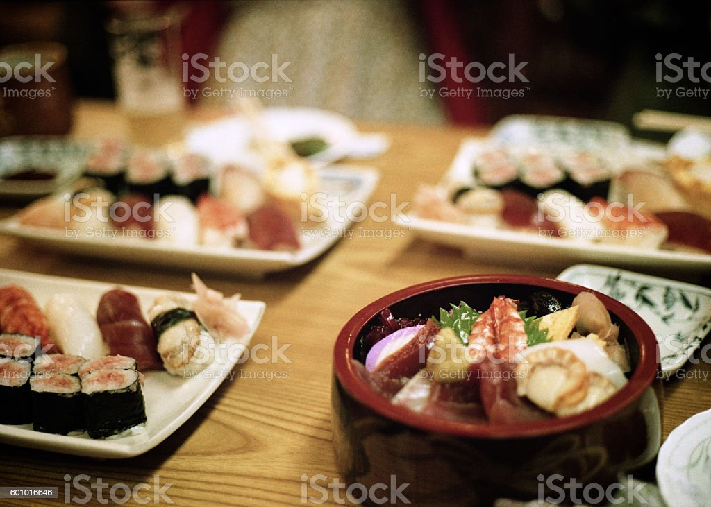 sushi on the table stock photo