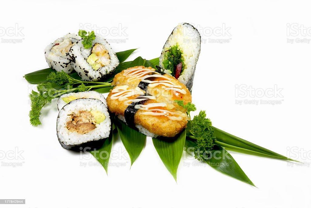 Sushi on white back ground. royalty-free stock photo