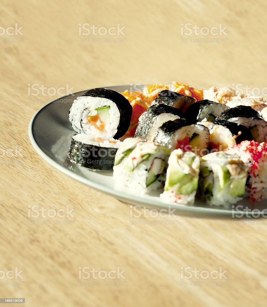 Sushi on Wood Table royalty-free stock photo
