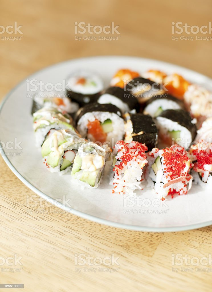 Sushi on Wood Table royalty-free stock photo