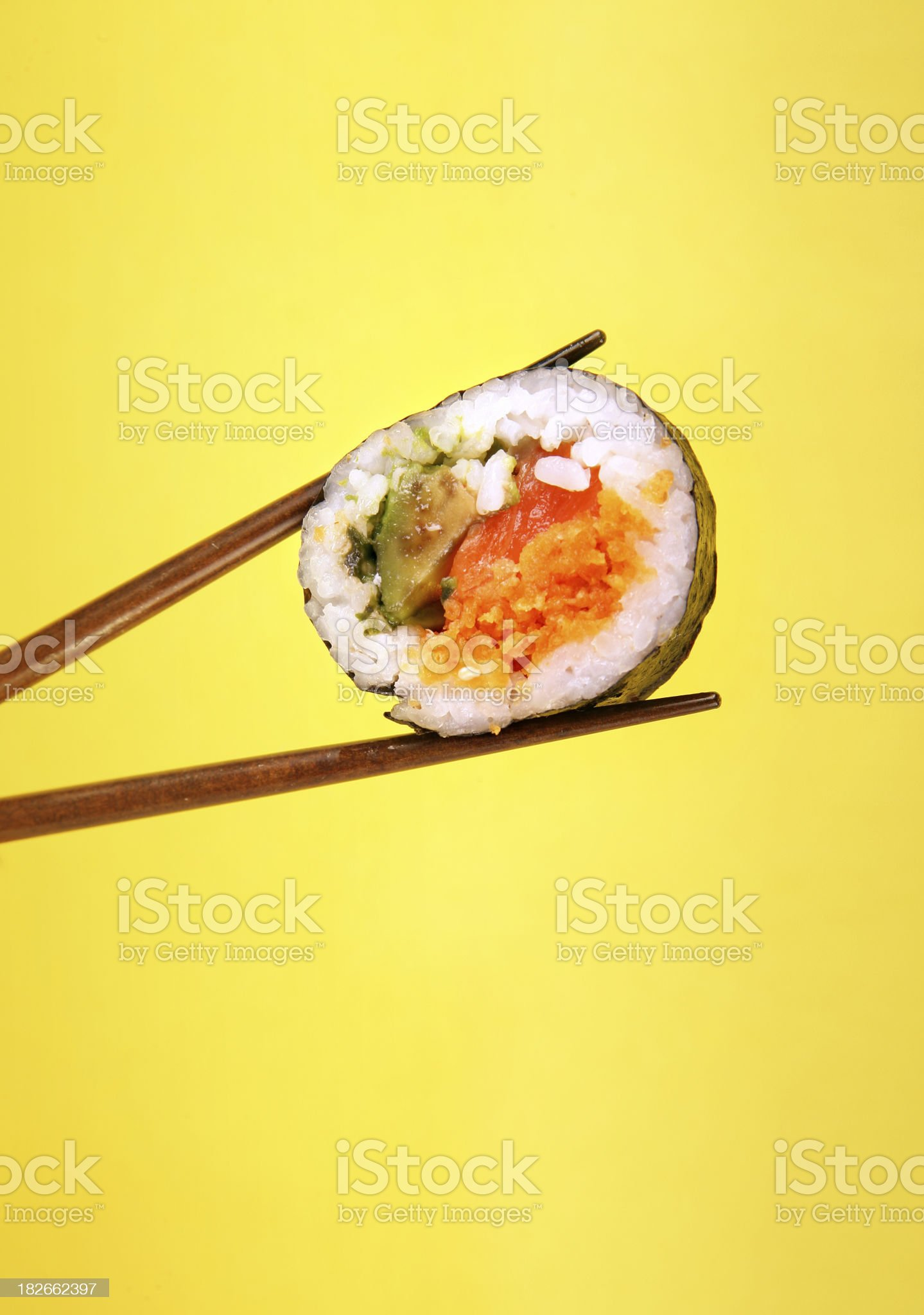 Sushi on yellow royalty-free stock photo