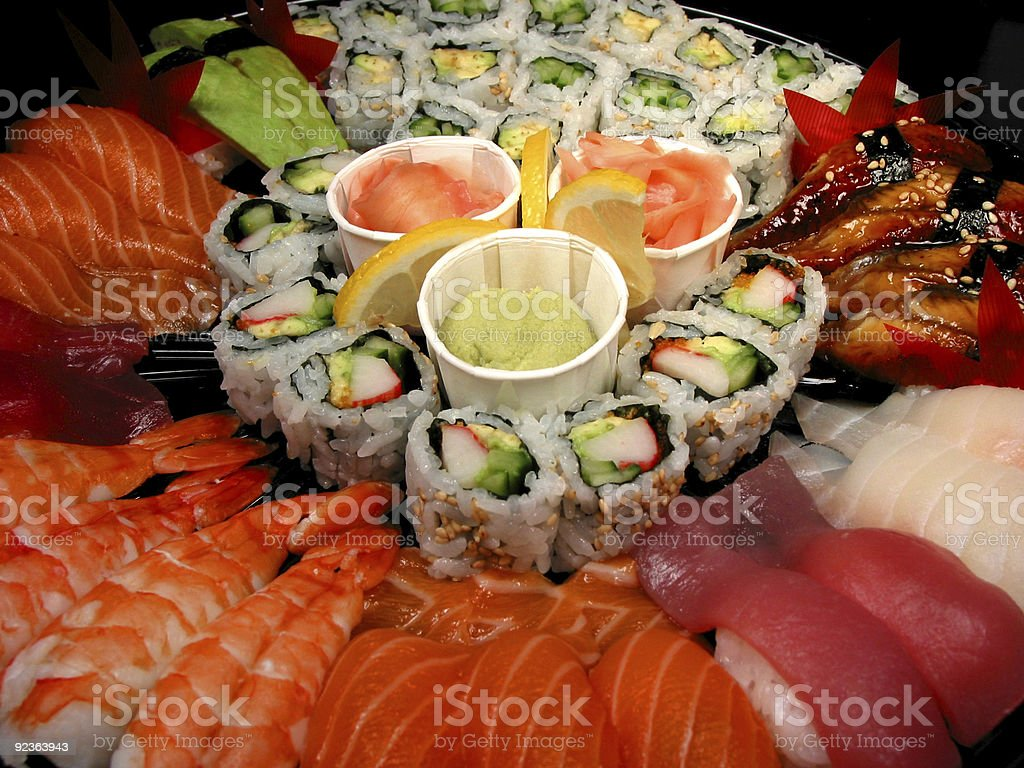 Sushi party tray, closeup royalty-free stock photo