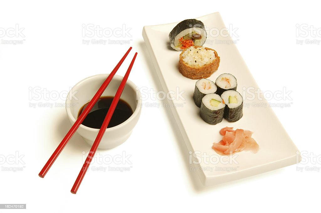 sushi plate isolated on white(w/clippning path) royalty-free stock photo