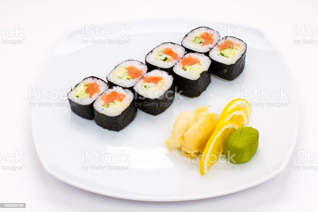 Sushi plate on white background stock photo
