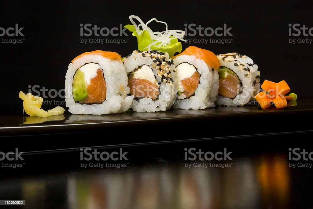 Sushi plate with chopsticks royalty-free stock photo