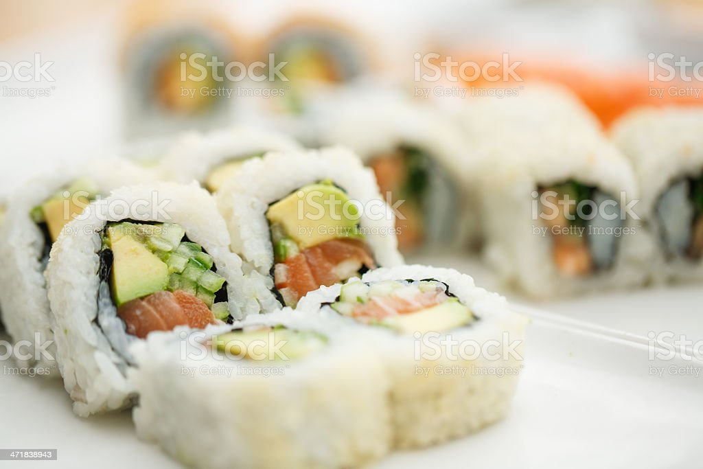 Sushi plate with chopsticks stock photo