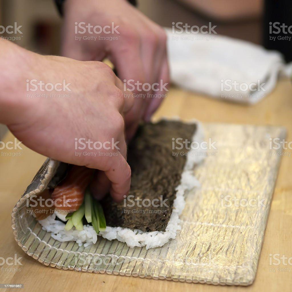 Sushi preparation royalty-free stock photo