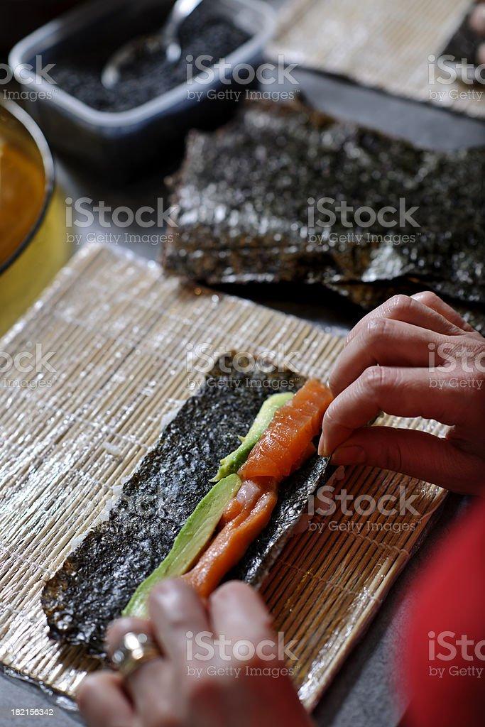 sushi preparing stock photo