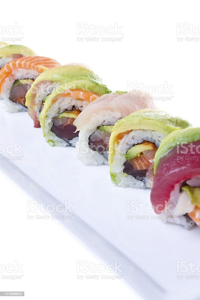 Sushi Rainbow Roll royalty-free stock photo