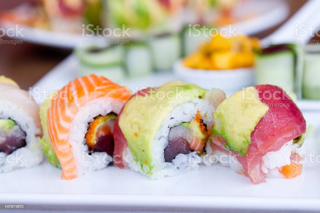 Sushi Rainbow Roll royalty-free stock photo