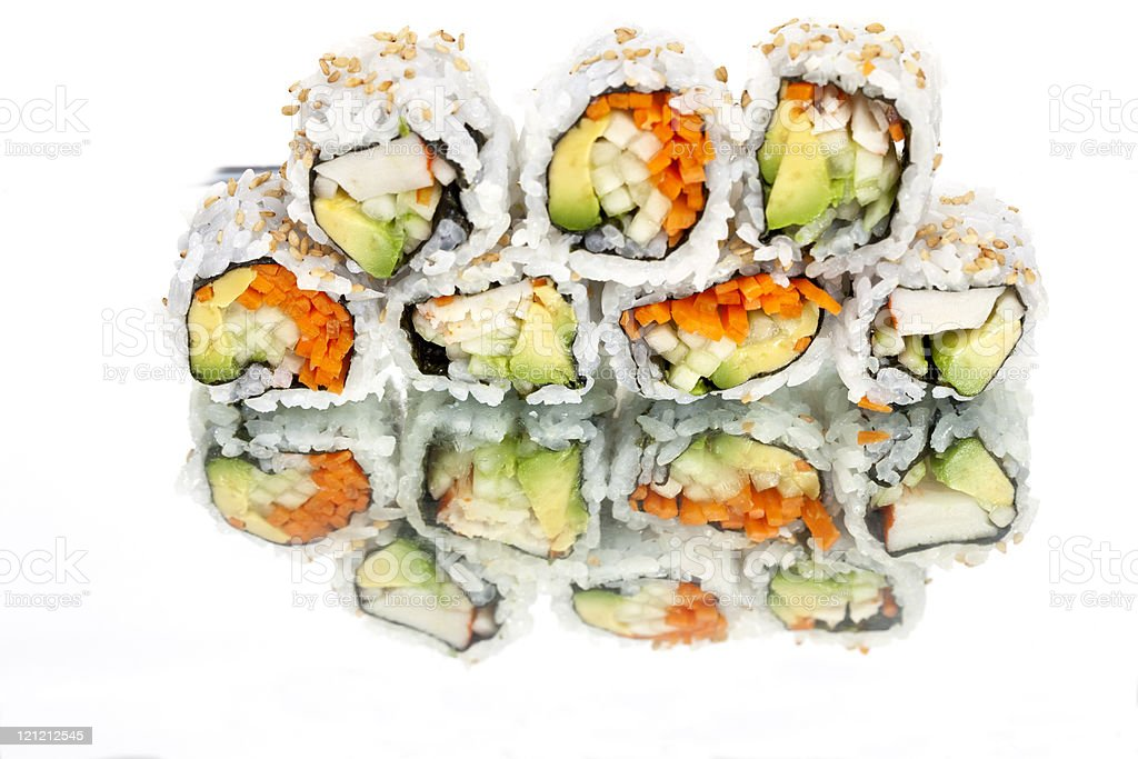Sushi Reflected in a Mirror royalty-free stock photo