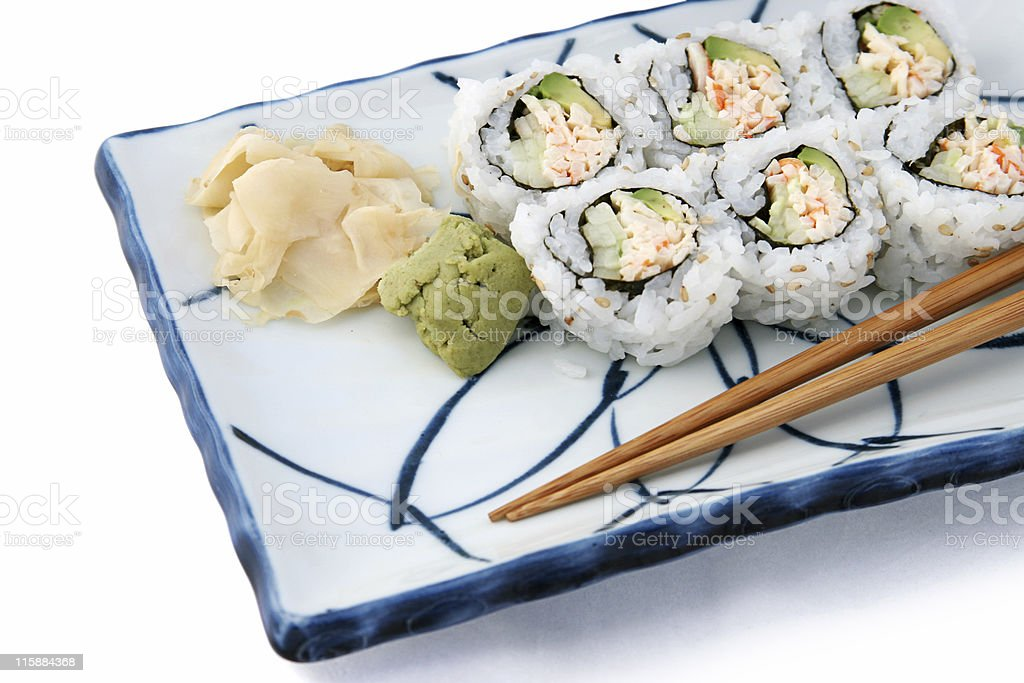 Sushi Roll Angled On White royalty-free stock photo