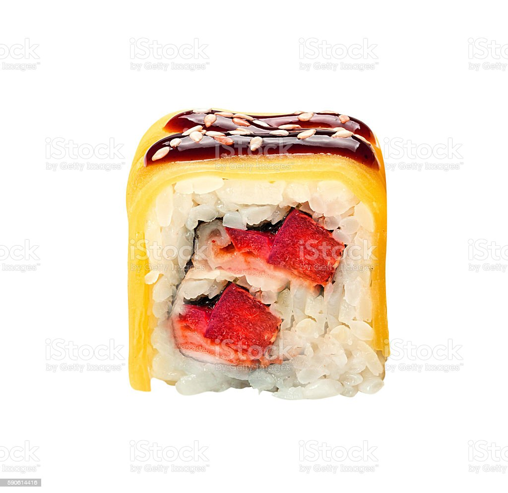 sushi roll isolated stock photo