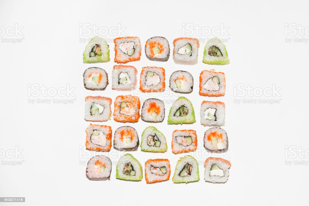Sushi roll sets with salmon, unagi and cheese, isolated on white background. Above view. stock photo
