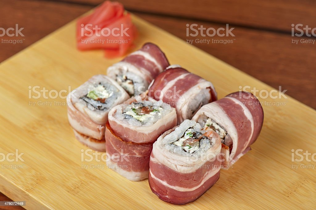 Sushi roll with bacon royalty-free stock photo