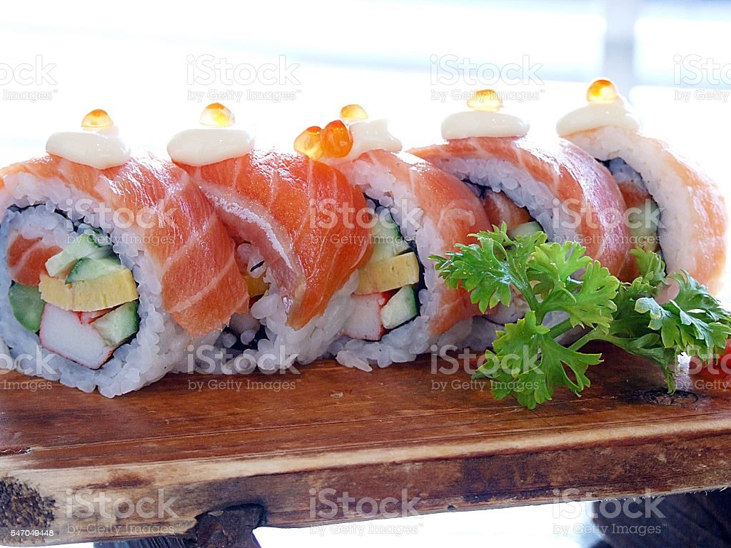 Sushi roll with salmon stock photo