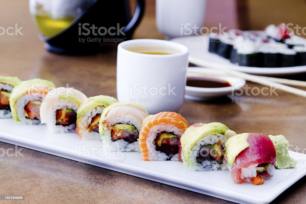 Sushi Rolls and green tea royalty-free stock photo
