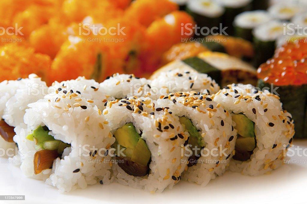 Sushi rolls close-up royalty-free stock photo