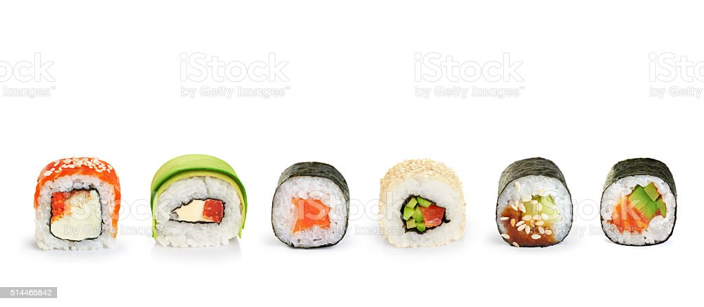 Sushi rolls isolated on white background. stock photo