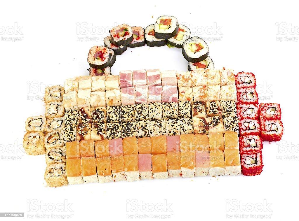 sushi, rolls isolated on white royalty-free stock photo