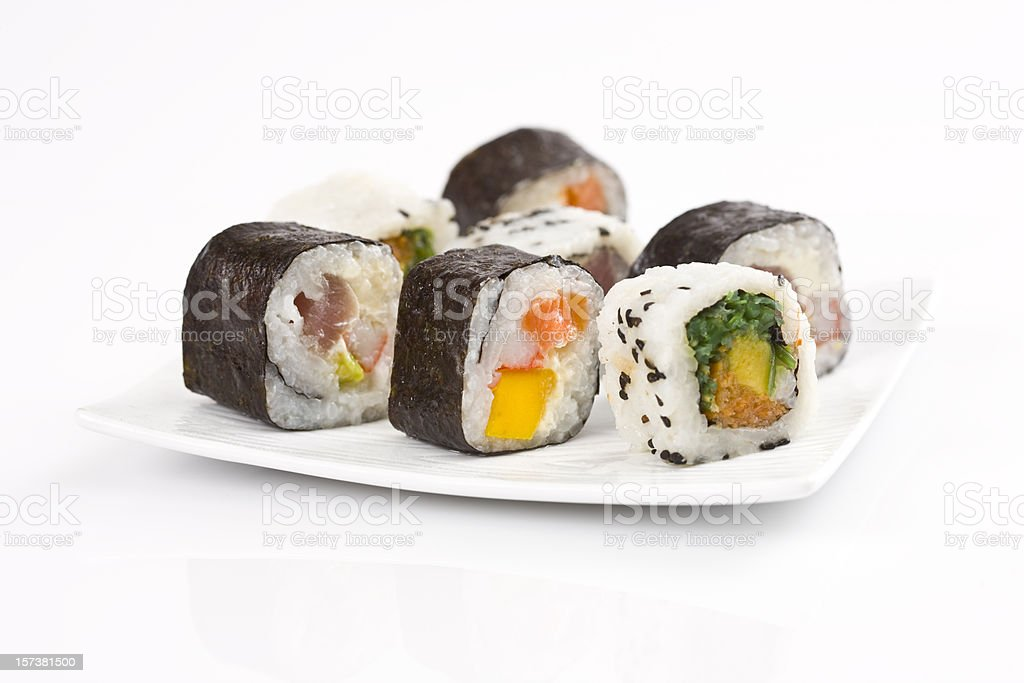 Sushi rolls on a white plate with white background stock photo