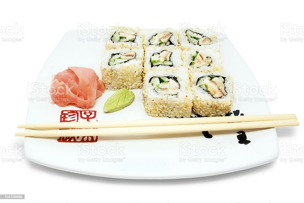 Sushi rolls on plate royalty-free stock photo