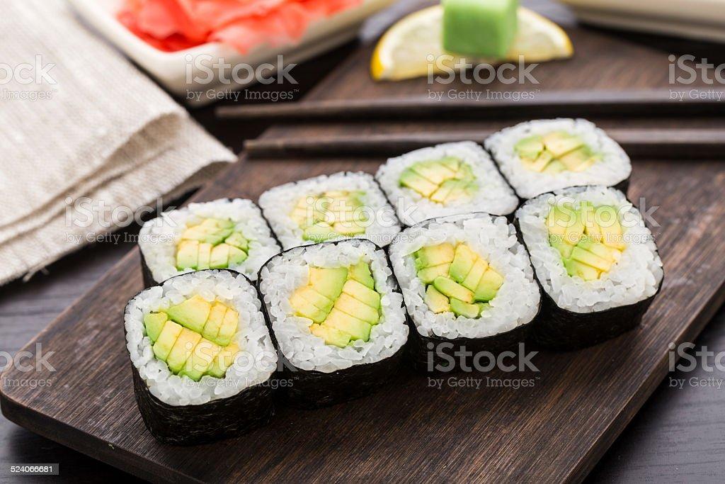 Sushi rolls with avocado stock photo