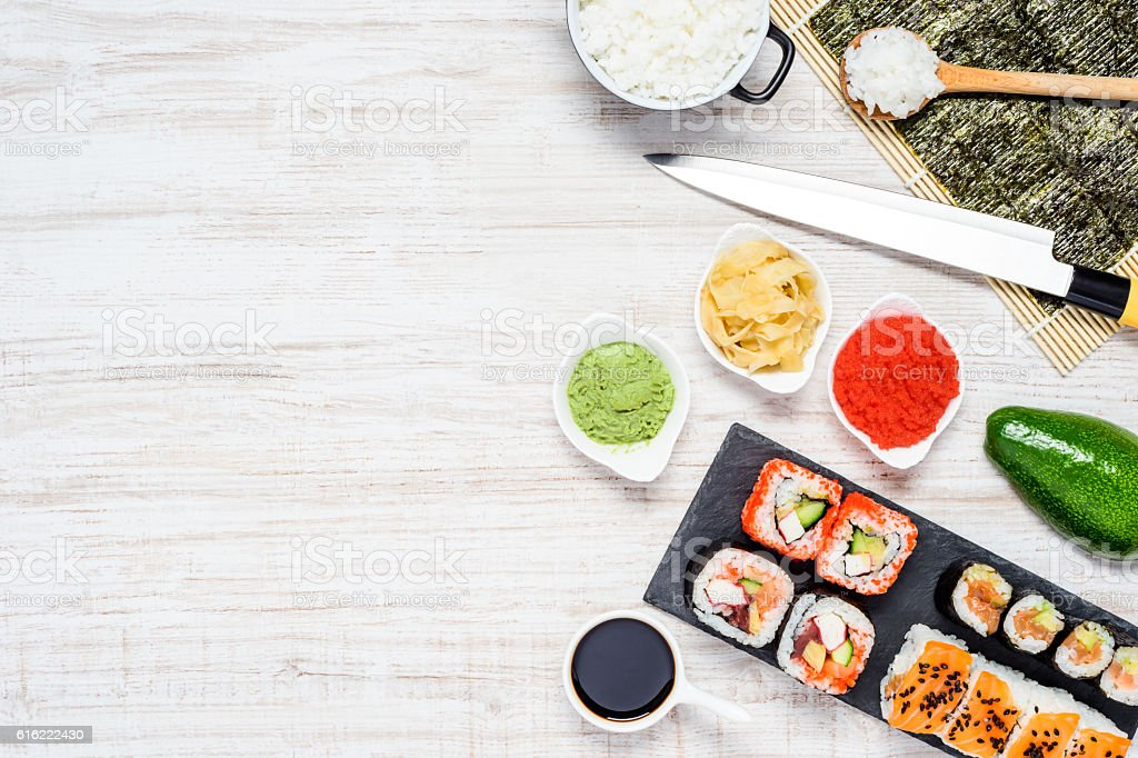 Sushi Rolls with Nori and Copy Space stock photo