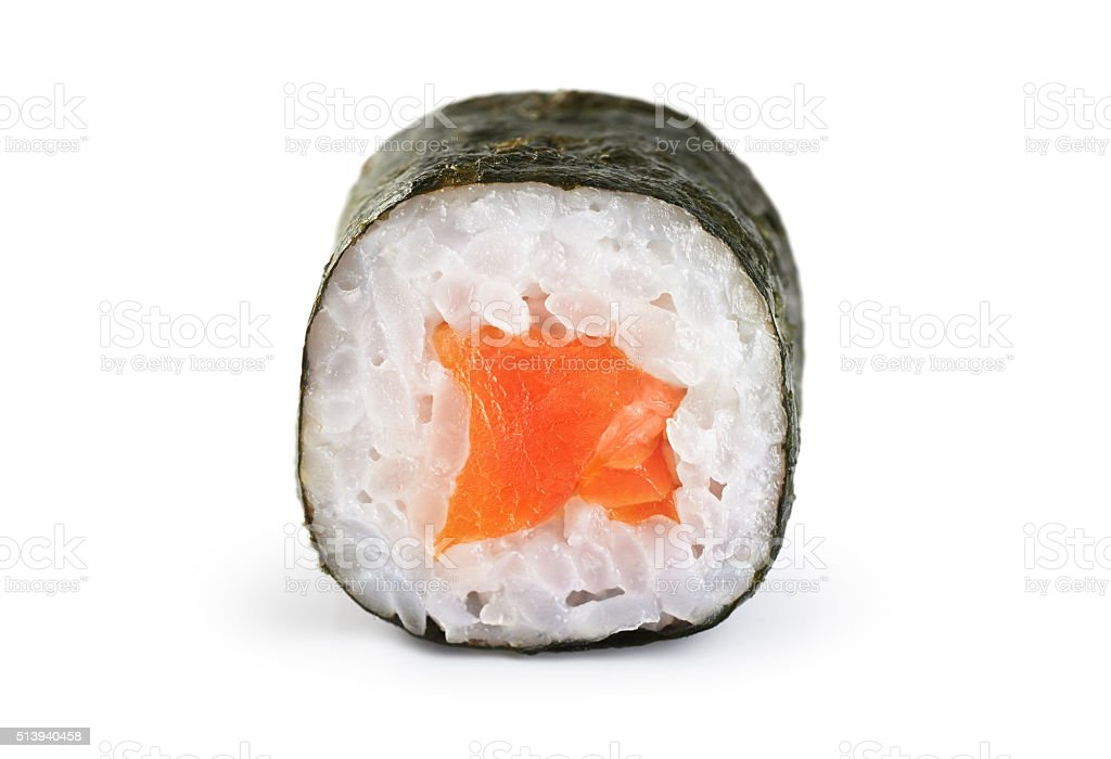 Sushi rolls with salmon. stock photo