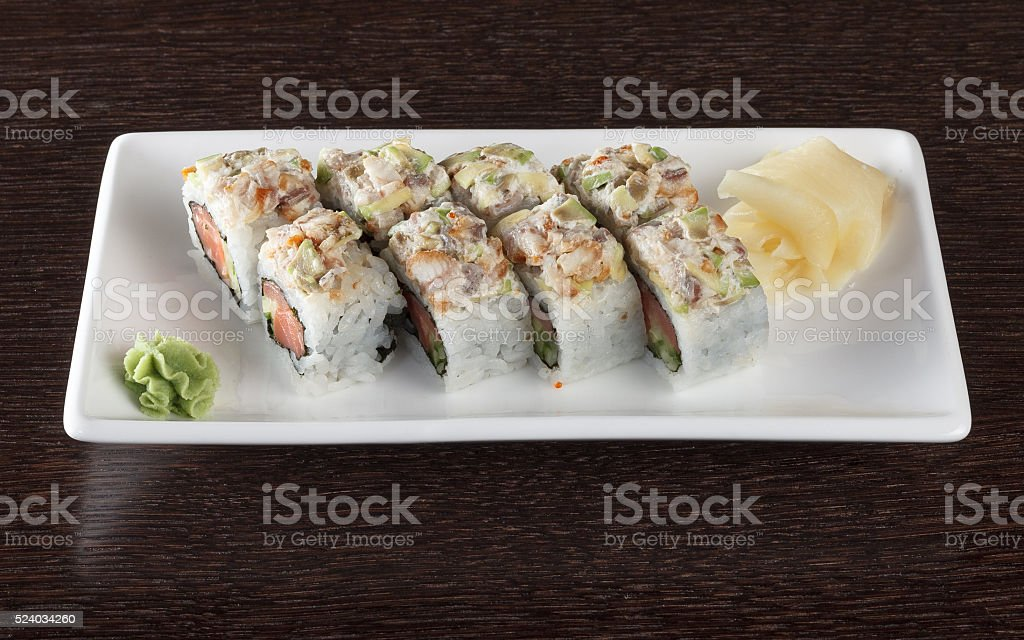 Sushi rolls with tuna and flying fish roe stock photo