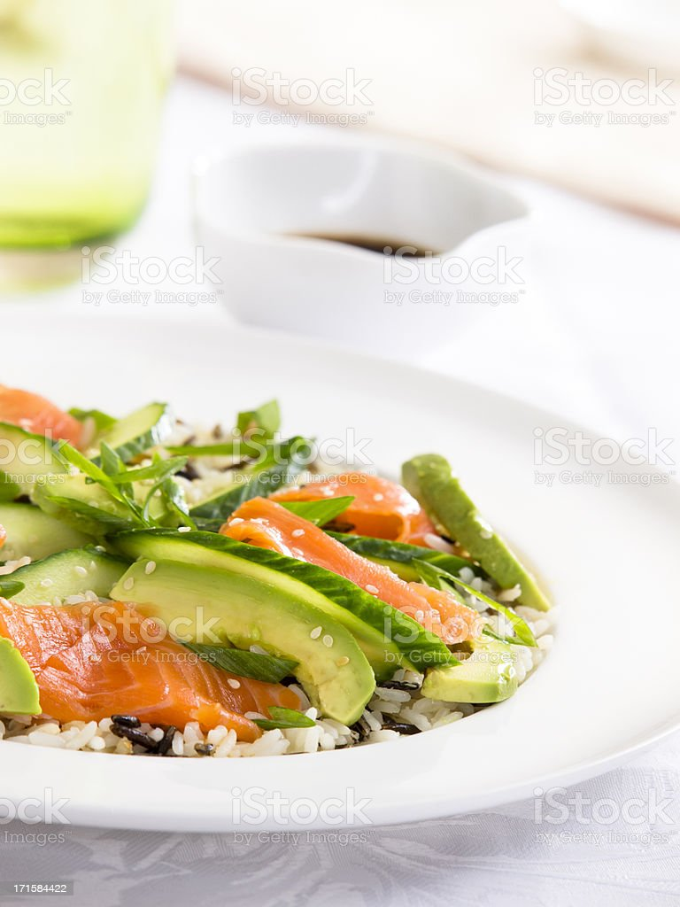 sushi salad with rice and avocado royalty-free stock photo