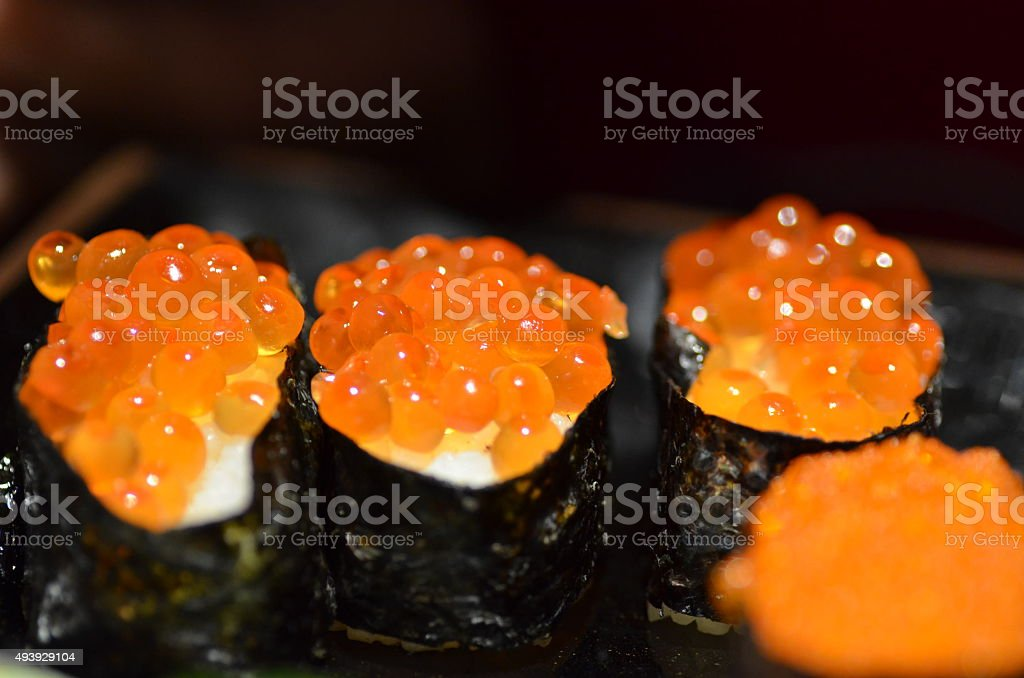 Sushi salmon egg stock photo