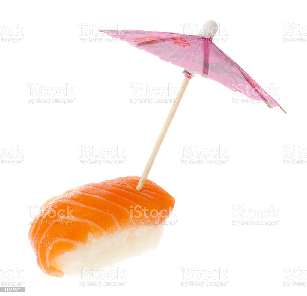 Sushi - Salmon Nigiri with umbrella royalty-free stock photo