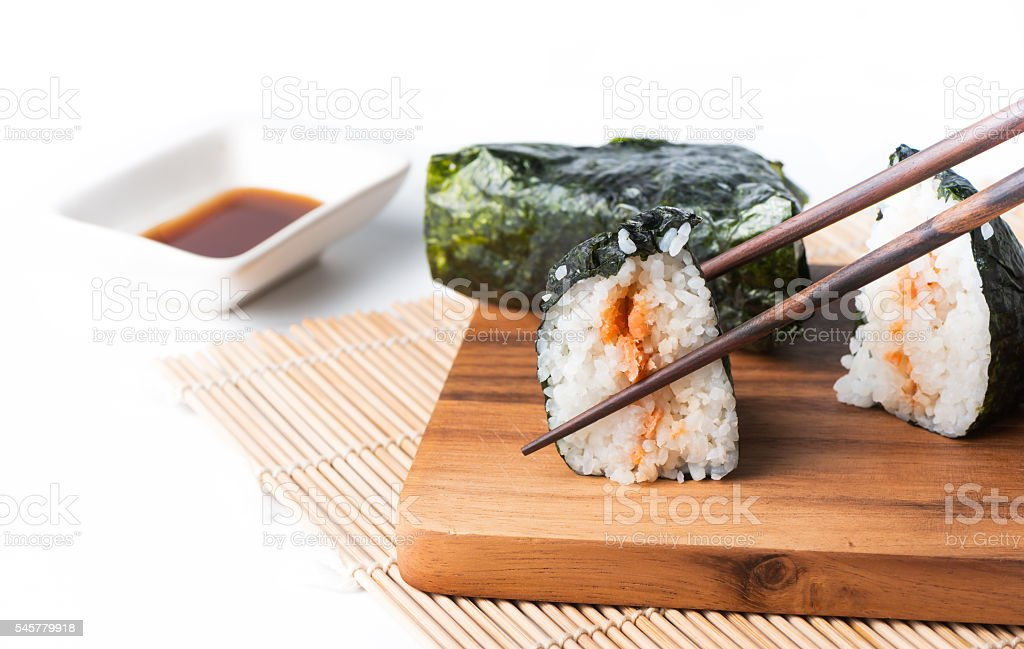 sushi, Salmon wrapped in seaweed isolated stock photo