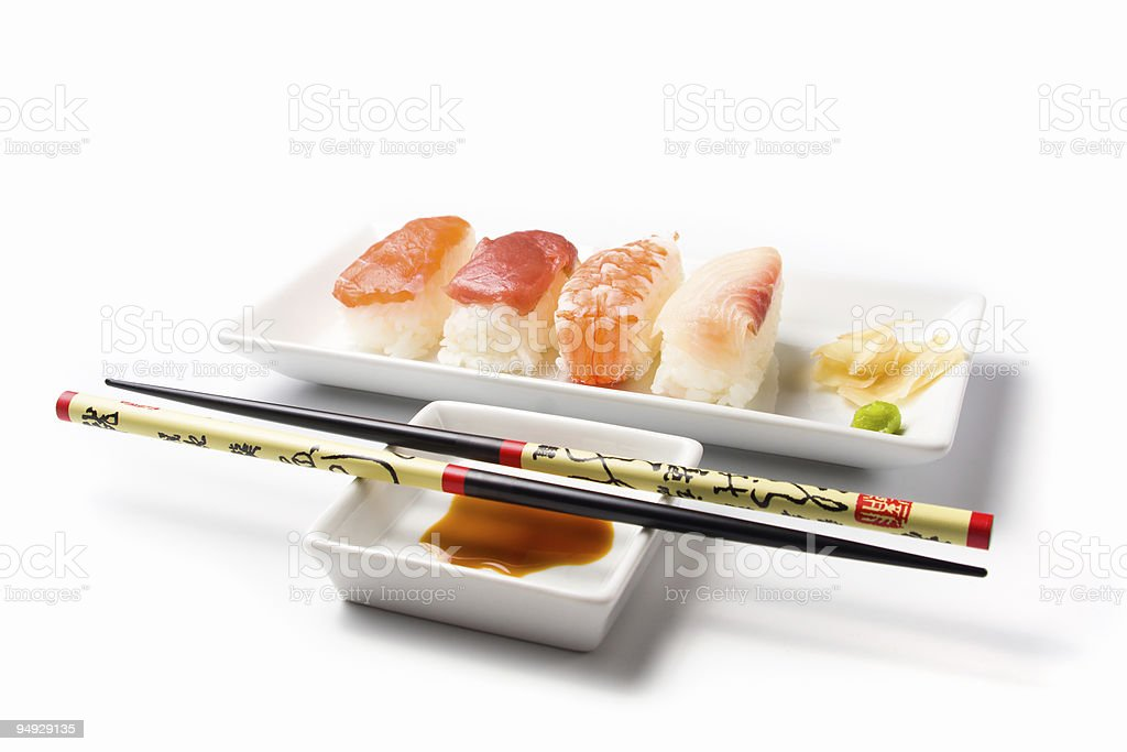 sushi series - nigiri meal with rested chopsticks royalty-free stock photo
