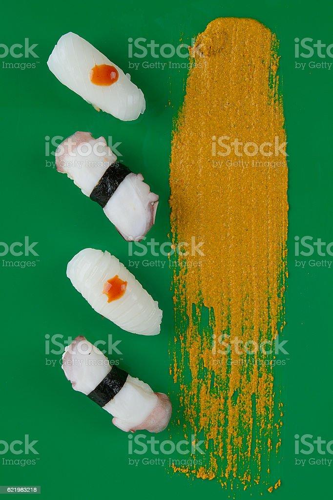 sushi set bar flat lay stock photo