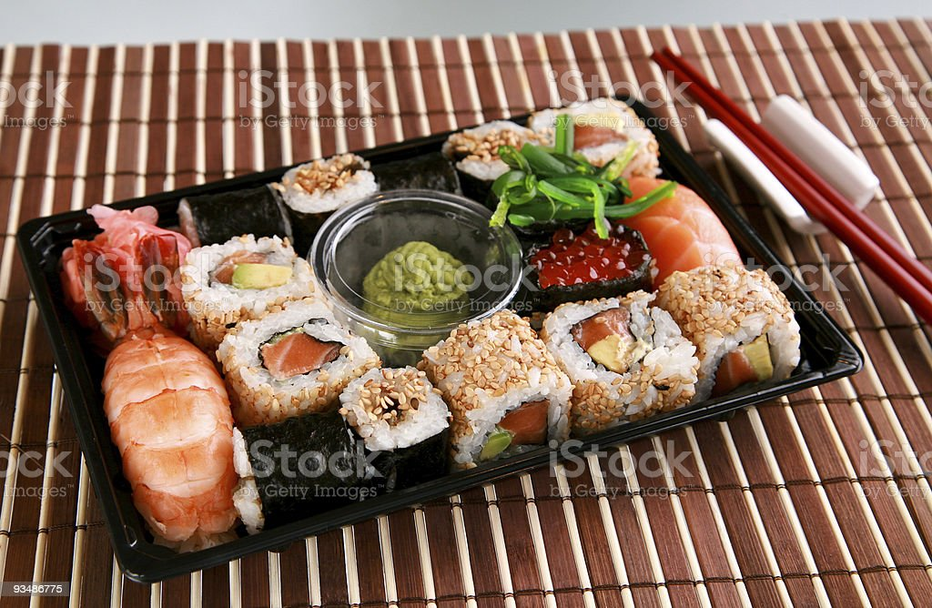 Sushi set in a box royalty-free stock photo
