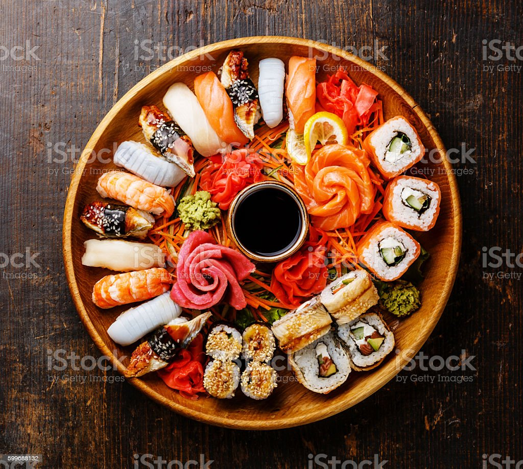 Sushi Set in wooden round tray stock photo