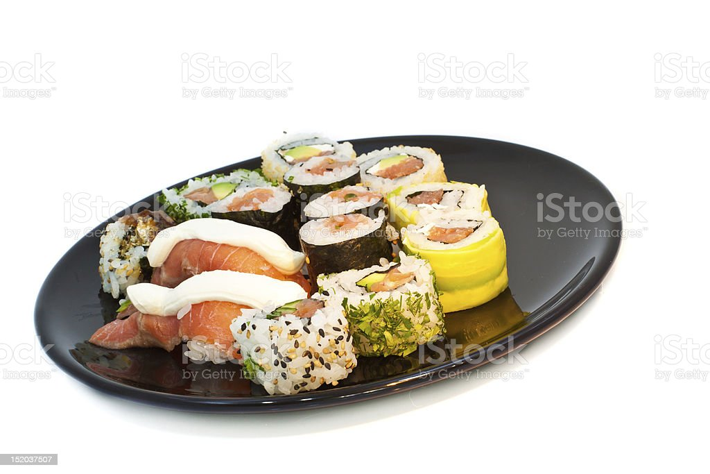 Sushi set isolated on white royalty-free stock photo