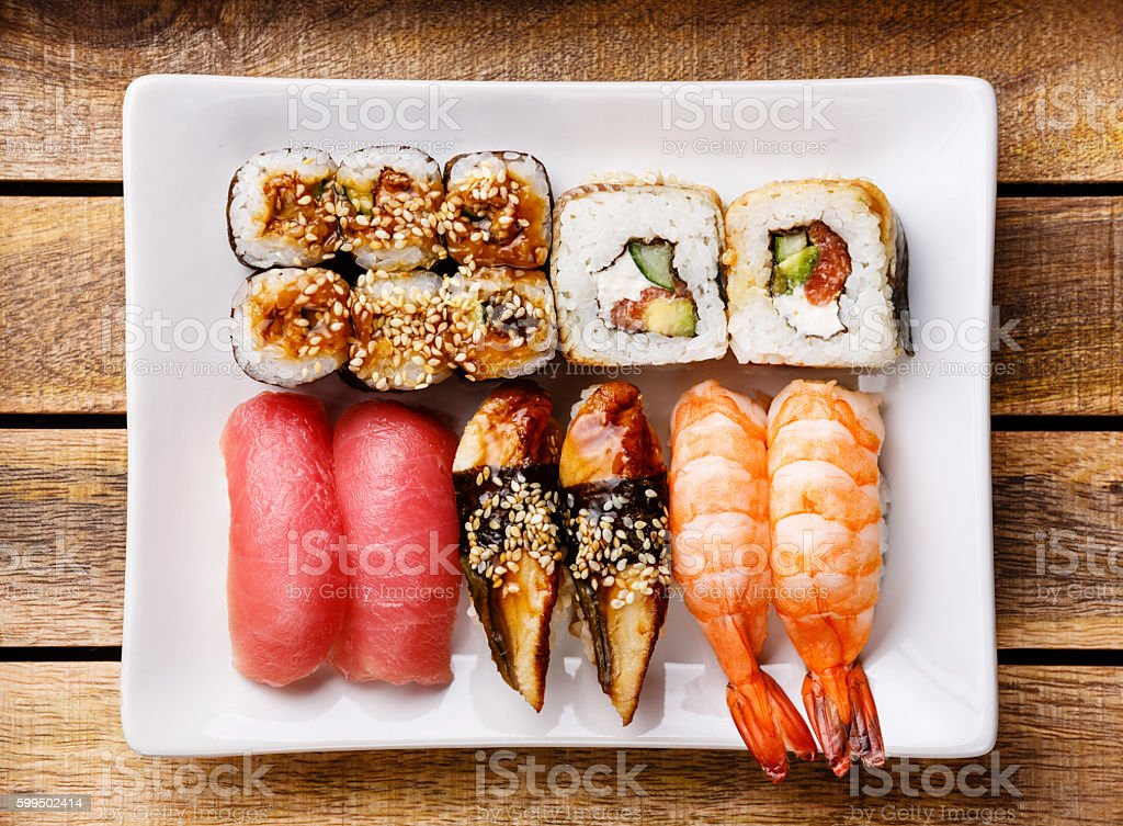 Sushi Set nigiri and rolls stock photo