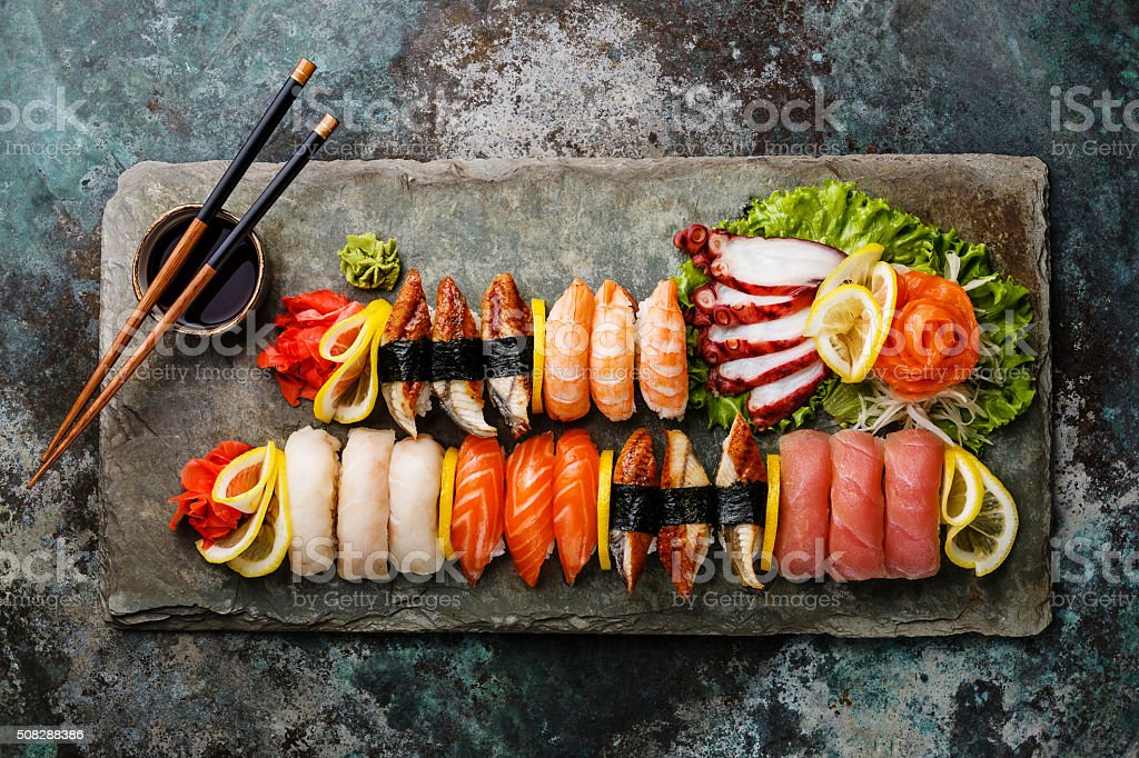 Sushi Set nigiri and sashimi stock photo