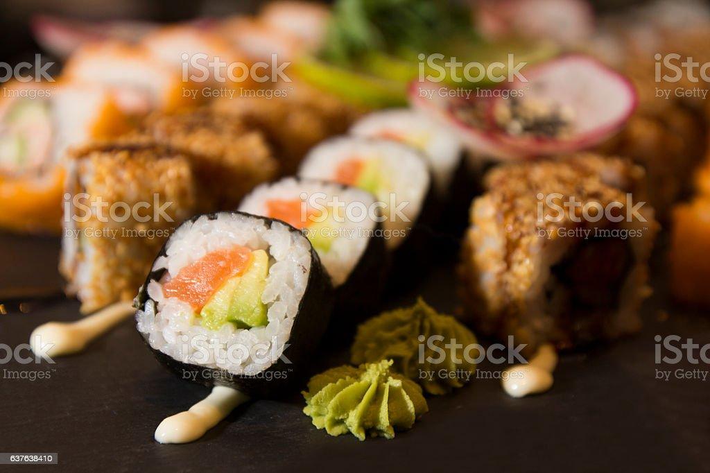 Sushi Set on dark plate stock photo